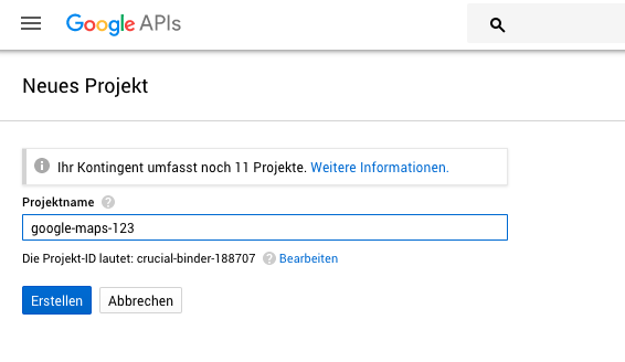 Google Cloud Resource Manager: Neues Projekt
