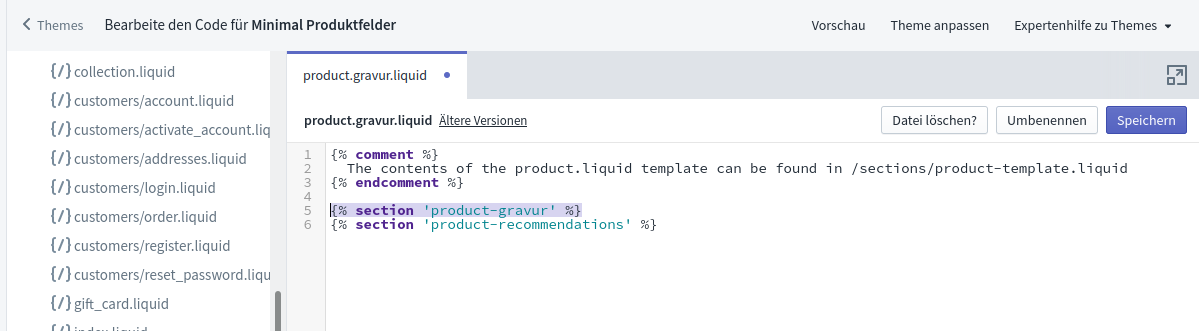 New Template Section Code