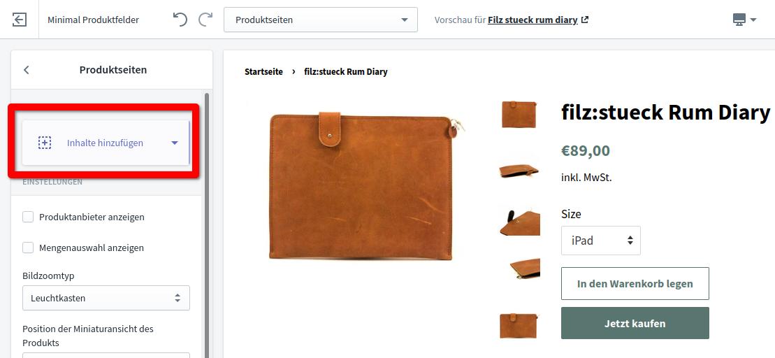 Produktfelder Schritt 2