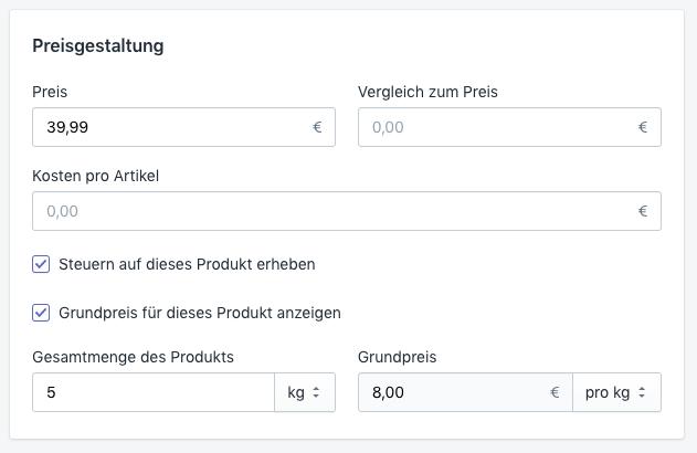 Shopify Grundpreise