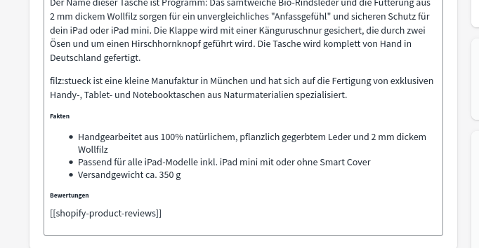 Product Reviews Platzhalter-Code